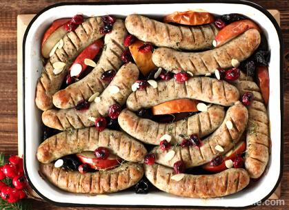 White sausage baked with fruit